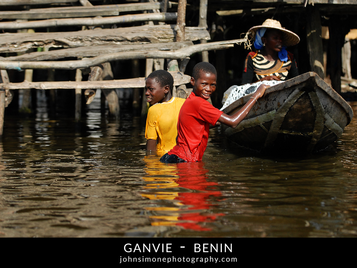 A photo montage by John Simone Photography on Ganvie, Benin